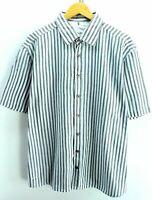 Signum Men's Shirt, White, Size XL, Striped, Short Sleeves Cotton CD727