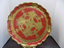 "RED FLORENTINE TRAY 13"" TOLEWARE HAND DECORATED GOLD FLORENCE ITALY"