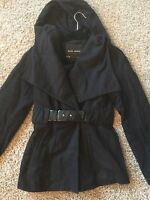 ZARA Black Short Patent Belted Jacket Coat With Hood Size Small
