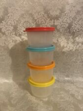 Tupperware Set Of 4 Snack Cups Clear Bowls W/ Multi Colored seals!  Brand new 🎁