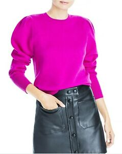 AQUA French Terry Cashmere Puff Sleeve Crewneck Mulberry Sweater NWT $188 Sz XS