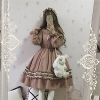 Vintage Palace Lolita Japanese Puff Sleeve Mori Girl Sweet Princess Only Dress