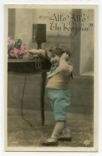 c 1910 Vintage Child on Telephone antique photo postcard