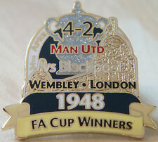 MANCHESTER UNITED v BLACKPOOL Victory Pins 1948 FA CUP Badge Danbury Mint