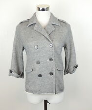 CAbi S Soft Structure Nautical Jacket  Knit Gray Heathered Double Breasted
