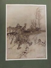 "1909 REPRINT RACKHAM RIP VAN WINKLE ""THE DOGS TOO, NOT ONE OF WHOM HE..."" PLATE"
