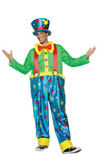 Mens Star Circus Clown Carnival Funny Fancy Dress Costume