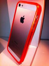 Nuovo Bumper ultra slim per Apple iPhone 5 5s colore arancione Fluo trasparente