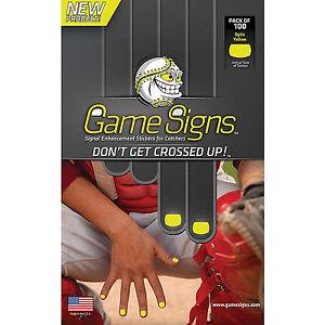 GameSigns CATCHER Baseball Softball Catching Signal Enhancement STICKERS Yellow