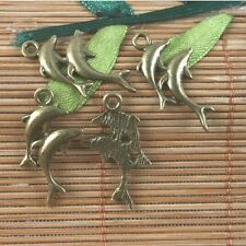 28pcs antiqued brass dolphin charms pendant G1615