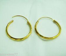 22K 23K 24K THAI BAHT YELLOW GOLD GP HOOP EARRINGS JEWELRY