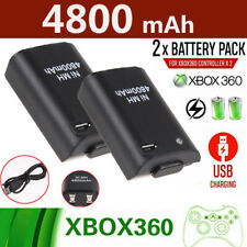 2 Pack Battery & Charger Cable Rechargeable Kit for Xbox 360 Wireless Control