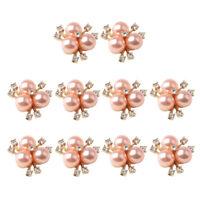10pcs Flower Rhinestone Crystal Embellishment Buttons Flatback Rose Gold