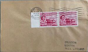 1958 Mauritius #251(2) w Ship La Bourdonnais (on back) cncl on cover; boat   *d