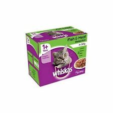 Whiskas 1+ Sachets Aliments Chats Poissons Adultes Viande Gelée 12x100G