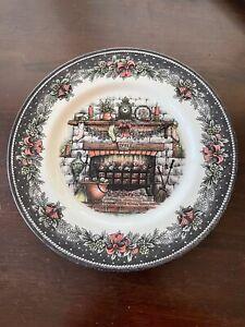 "4 Royal Stafford Brown Christmas Fireplace 1791 Dinner Plates England Bow 11"""