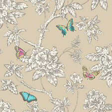 Tahlia Gold Butterfly Butterflies Feature Wallpaper K2 11433 Holden Decor