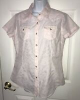 ARIAT Pink Burnout S/S Pearl Snap Cowgirl Western Rodeo Shirt Sz MEDIUM
