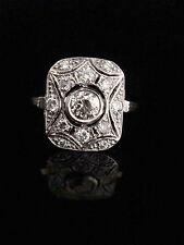 Estilo eduardiano de 18 quilates chapado Diamante 0,75 Ct grandes Clusters allanar conjunto anillo