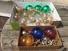 vintage DDR Weihnachtskugeln Glaskugeln mit Goldglitzer, kleine Lauscha Kugeln