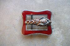 vintage 1970 s GUCCI red cloisonne sterling silver Tiger Head belt buckle