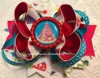 Hot Pink Green Turquoise Happy Birthday Party Hats Bottle Cap Hair Bow 4 1/2""