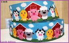 1 metre, FARM, 25mm, Ribbon, 1 inch, Grosgrain, Cow, Lamb, Chick, Hair, Bow.