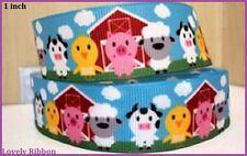 1 metre, FARM, 25mm, Ribbon, 1 inch, Grosgrain, Cow, Lamb, Chick, Hair, Bow.