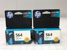 Two Genuine Hp 564 Photo Black CB317WN Ink Cartridges for B8550 C6340