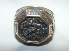 Men Orthodox Signet Sterling Silver 925 Ring St George Dragon Slayer US Size 9