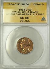 1964-D Jefferson Nickel 5c ANACS AU-50 Struck on 1c Penny Blank Error Coin