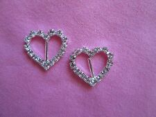 2 SILVERTONE & RHINESTONE HEART BUCKLES  2CM X 2CM