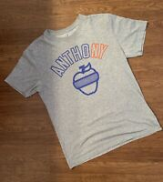 Nike Air Jordan Melo Carmelo Anthony 7 Big Apple New York Knicks Grey T Shirt M