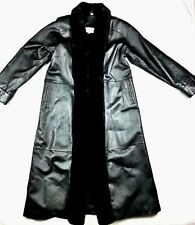 Charles Klein Womens Genuine Leather Overcoat S Small Faux Fur Full Length Black