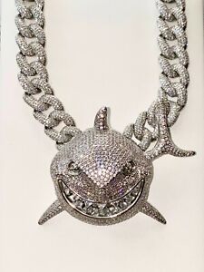18mm SHARK Mens Ice Out Miami Cuban Chain 14k White Gold Finish Big Iced Pendant