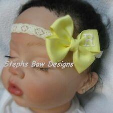 Soft Yellow Monogram Dainty Hair Bow Headband Personalized 4 Preemie 2 Toddler