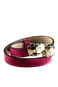 Bvlgari Womrnes Calf Leather Serpenti Forever Double Coil Wrap Bracelet Pink