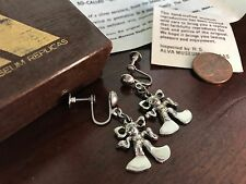 Vintage Silver Etruscan Revival Pixie Gremlin Earrings - Alva Museum Replicas