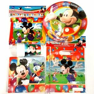 Mickey Mouse Party Pack for 10 People - Tableware, Party Bags & Birthday Banner