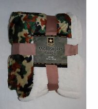 PLUSH 50x60 NORTHPOINT Throw Blanket GREEN CAMOUFLAGE Sherpa Reversible Camo
