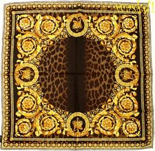 """VERSACE gold Baroque CROWNS brown LEO Spots 35""""-square Silk scarf NWT Authentic!"""