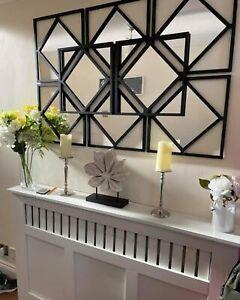 Set of 3 Square diamond shape frame black wall art mirror modern stylish 40x40cm