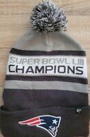 47 NFL NEW ENGLAND PATRIOTS SUPER BOWL LIII CHAMPIONS POM WINTER HAT FOOTBALL