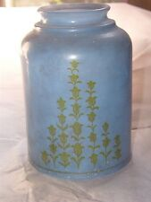 Antique Frosted Glass Lampshade Blue with Green flower design Floor/Table