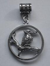 PEWTER CHARM suit European Bracelet #132 KOOKABURRA IN CIRCLE 23mm AUSSIE BIRD
