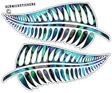 MAORI AOTEAROA PAUA SHELL EFFECT FERNS KIWI STICKER NZ FERN STICKER SET X 2