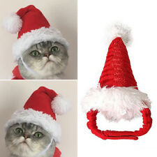 Pet Cat Dog Adjustable Santa Hat Christmas Xmas Red Holiday Costume Apparel