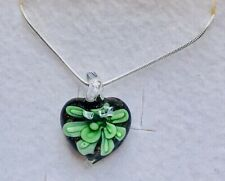 Stunning Peridot Green Murano Glass Pendant On A 925 Silver Chain with Flower 2