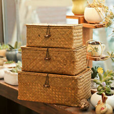 Handmade Storage Box Rattan Seagrass Woven With Lid Sundries Makeup Organizer