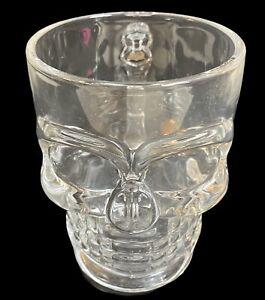 "Pirate Beer Glass Mug Crystal Skull Clear Head 5"" x 3.75"" Halloween Bar Man Cave"